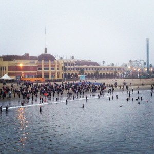 Athletes gathering for the swim start